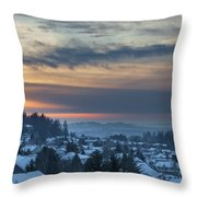 Winter Snow At Sunset In Happy Valley Oregon  Throw Pillow