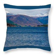 Winter Snow Caps At Loch Broom Throw Pillow