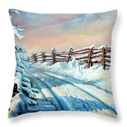 Winter Snow Tracks Throw Pillow