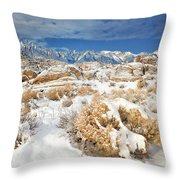 Winter Snowstorm Blankets The Alabama Hills California Throw Pillow