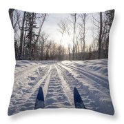 Winter Sport X-country Skis In Sunny Forest Tracks Throw Pillow