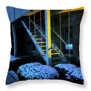 Winter Stairs Throw Pillow by Guy Ricketts