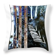 Winter Stairs In Blue Throw Pillow