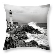 Winter Storm At Portland Head Throw Pillow