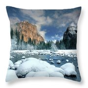 Winter Storm In Yosemite National Park Throw Pillow