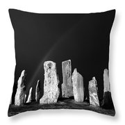 Winter Storm Sky Over Callanish. Outer Hebrides, Scotland.    Black And White Throw Pillow
