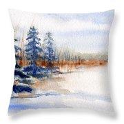 Winter Storm Watercolor Landscape Throw Pillow