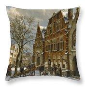 Winter Street Scene. Oudewater Throw Pillow