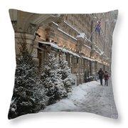 Winter Stroll In Helsinki Throw Pillow