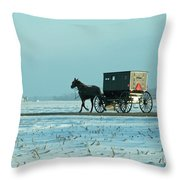Winter Sun On Amish Buggy Throw Pillow