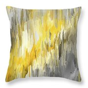 Winter Sun - Yellow And Gray Contemporary Art Throw Pillow by Lourry Legarde