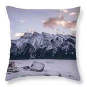 Winter Sunrise Lake Minnewanka Throw Pillow