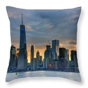 Winter Sunrise New York City Throw Pillow