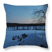 Winter Sunrise On Demond Pond Throw Pillow