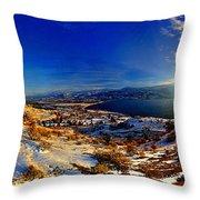 Winter Sunrise On Skaha Throw Pillow