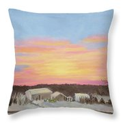Winter Sunrise On The Farm Throw Pillow