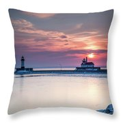 Winter Sunrise Over Canal Park Duluth Mn  Throw Pillow