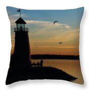 Winter Sunset At East Warf Throw Pillow