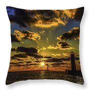 Winter Sunset At Muskegon Channel Light Throw Pillow