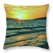 Winter Sunset At Wellfleet Harbor Throw Pillow