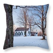 Winter Sunset In New Salem Throw Pillow by Susan Cole Kelly
