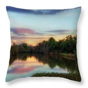 Winter Sunset On The Slough Throw Pillow
