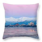Winter Sunset Over Anchorage, Alaska Throw Pillow