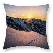 Winter Sunset Over Little Cottonwood Canyon Throw Pillow