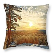 Winter Sunset Over The Mountains Throw Pillow