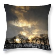 Winter Sunset, Trough Of Bowland, England Throw Pillow