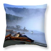 Winter Surf On Vancouver Island Throw Pillow