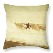 Winter Surfing At Casino Pier Throw Pillow