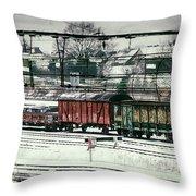 Winter Transport Throw Pillow