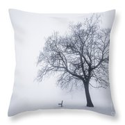 Winter Tree And Bench In Fog Throw Pillow
