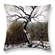 Winter Tree Stainland Throw Pillow