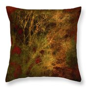 Winter Trees In Gold And Red Throw Pillow