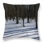 Winter Trees In Snow With Shadow Lines Throw Pillow
