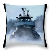 Winter Tug Throw Pillow