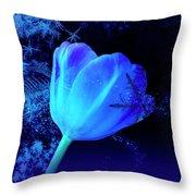 Winter Tulip Blue Theme 2 Throw Pillow