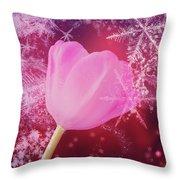 Winter Tulip Red Theme Snow Throw Pillow