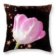 Winter Tulip With Gold Snow And Stars Throw Pillow