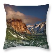 Winter Tunnel View Yosemite National Park  Throw Pillow