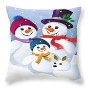 Winter Vacation With Mum Dad And Snowy Throw Pillow