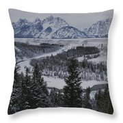 Winter View Of The Snake River, Grand Throw Pillow