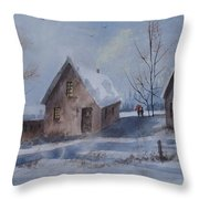 Winter Walk, Watercolor Painting Throw Pillow
