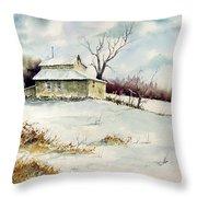 Winter Washday Throw Pillow