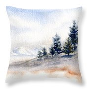 Winter Watercolor Painting Throw Pillow