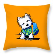 Winter Westie With Lime Throw Pillow