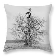 Winter Windmill Throw Pillow