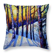 Winter Woodland Sunset Modern Impressionism Palette Knife Oil Painting Throw Pillow